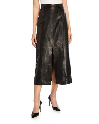 Leather Slit-Front Skirt