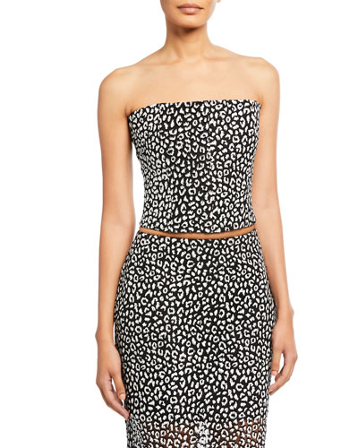 Leopard-Print Strapless Crop Top
