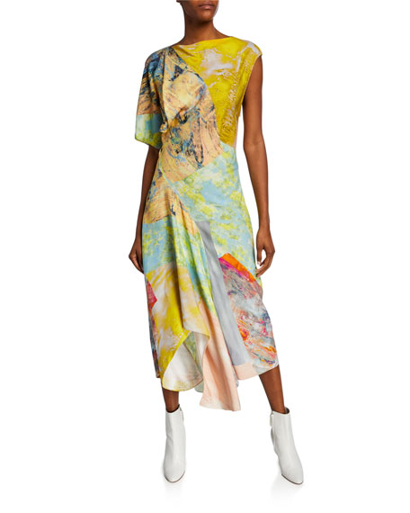 Image 1 of 1: Asymmetric Painted Patchwork Dress