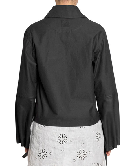 Leather & Chambray Bomber Jacket