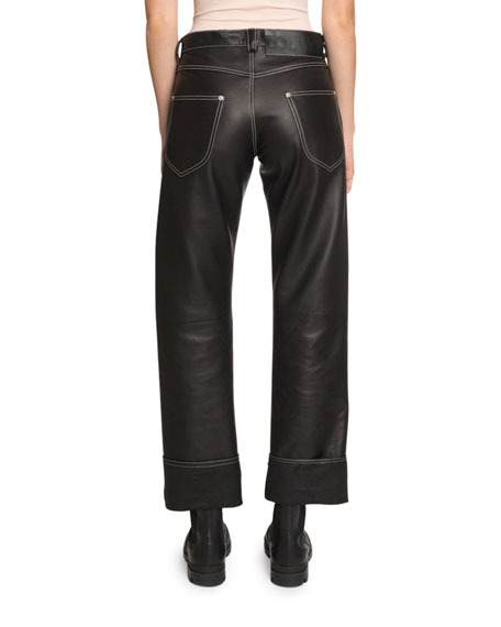 Topstitched Leather Pants