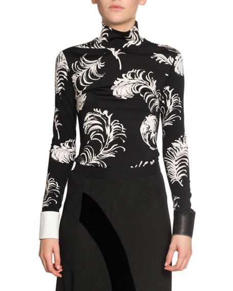 Feather-Print Leather Cuff Top