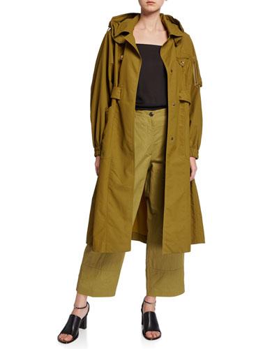 Khaki Belted Oversized Trench Coat