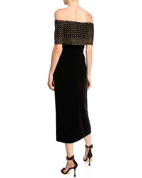 Off-the-Shoulder Dome-Studded Midi Dress