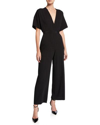V-Neck Dolman-Sleeve Jumpsuit