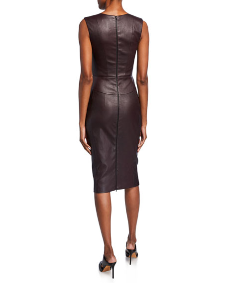 Leather Scoop-Neck Knee-Length Dress
