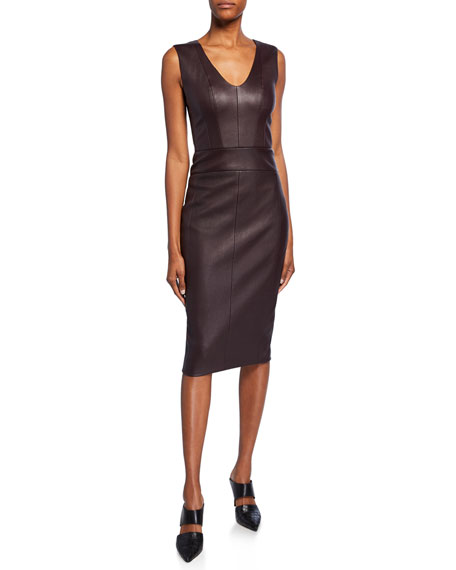 Image 1 of 1: Leather Scoop-Neck Knee-Length Dress