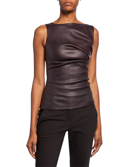 Image 1 of 1: Leather Ruched Boat-Neck Top