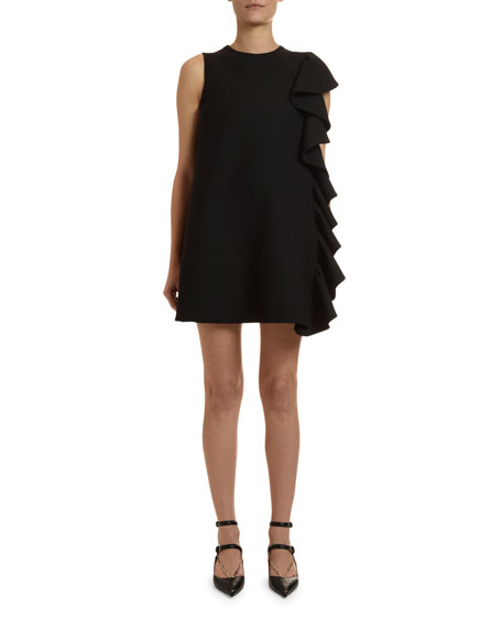Image 1 of 1: Ruffle-Side Sleeveless Crepe Shift Dress