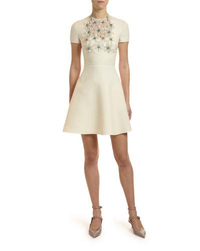 Floral-Embellished Fit-&-Flare Dress