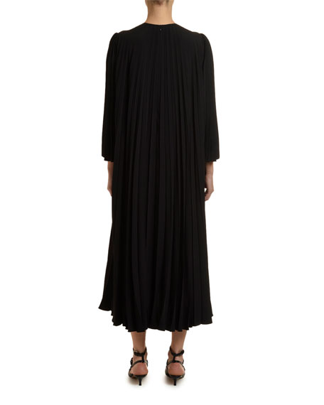 3/4-Sleeve Pleated-Back Dress