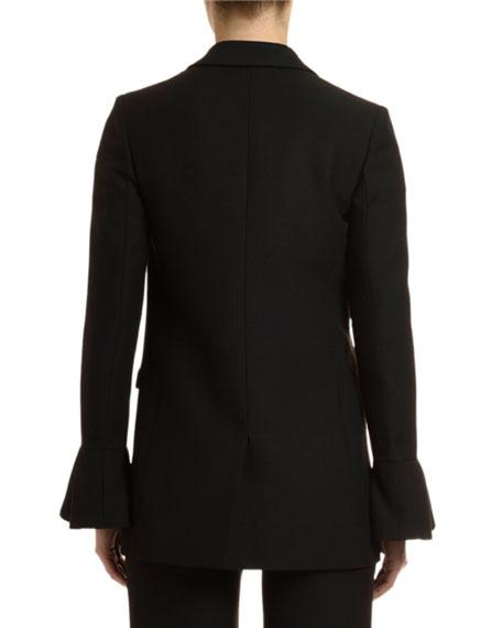Flare-Cuff Crepe Blazer Jacket
