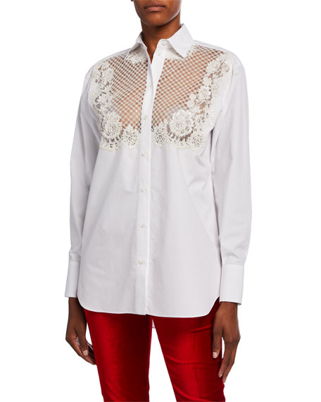 Embroidered Lace-Front Poplin Blouse