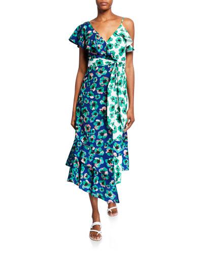 Leone Two-Tone Floral Crepe Wrapped Midi Dress