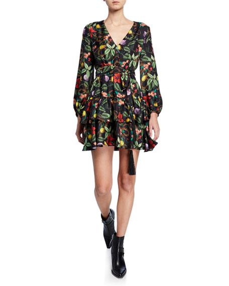 Olivia Silk-Twill V-Neck Dress