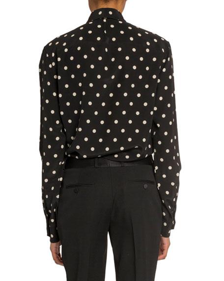 Polka Dot Long-Sleeve Button Front Blouse