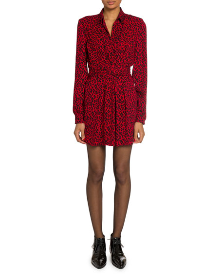 Leopard-Print V-Neck Polo Dress