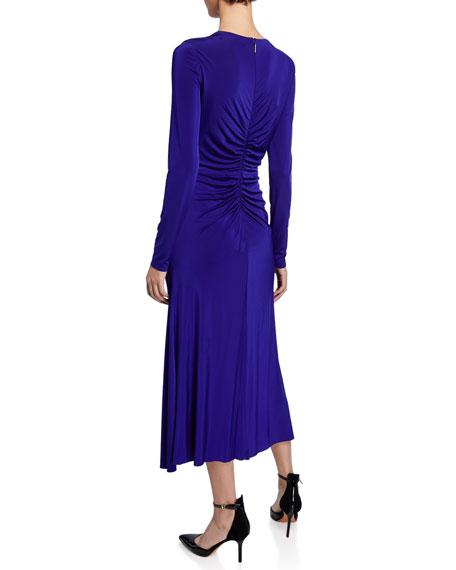 Twisted V-Neck Jersey Midi Dress