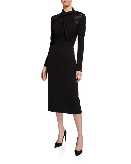 Image 1 of 1: Long-Sleeve Twisted Ponte Midi Dress