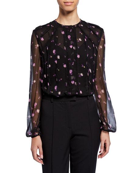 Full-Sleeve Floral-Print Chiffon Blouse