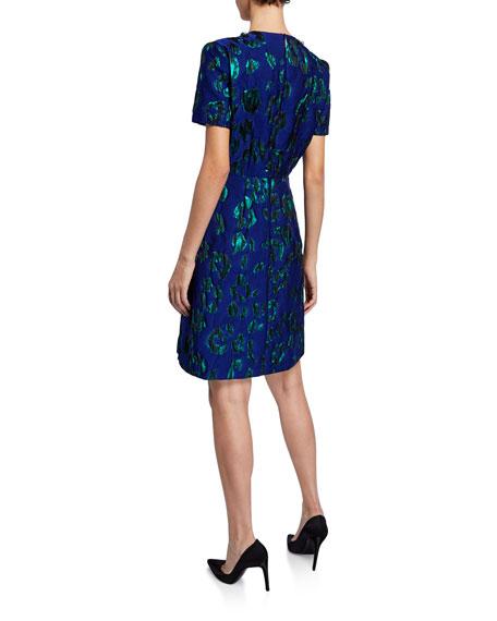 Jeweled-Neck Satin Jacquard Dress