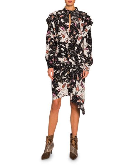 Long-Sleeve Floral Asymmetric Dress