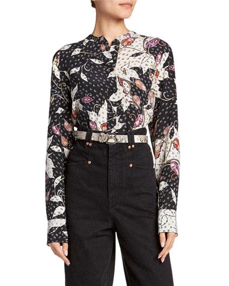 Floral Print Button-Front Silk Blouse