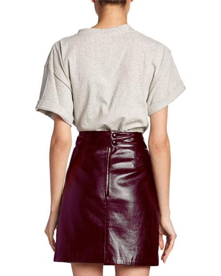 Gathered-Shoulder Short-Sleeve Top