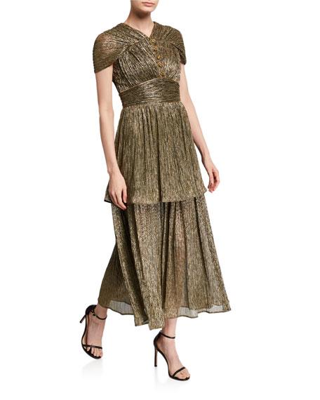 Metallic Jersey V-Neck Ruffled Dress