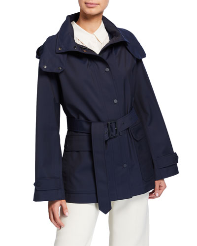 Techno Water Proof Hooded Short Trench Coat