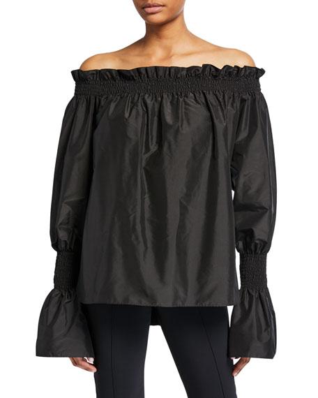 Taffeta Off-the-Shoulder Bell-Sleeve Top