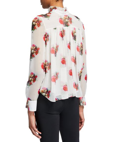 Tie-Neck Floral Print Chiffon Blouse