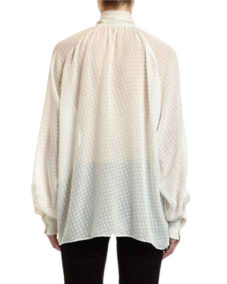 Small-Dot Fil Coupe Tie-Neck Blouse
