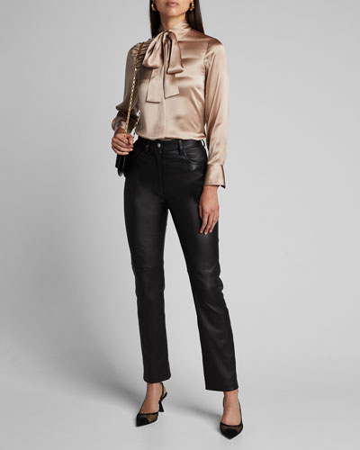 Tie-Neck Fluid Satin Shirt
