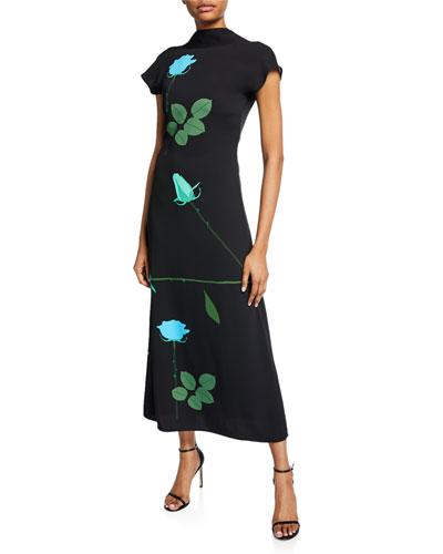 Valentine Floral-Print Crepe de Chine Dress