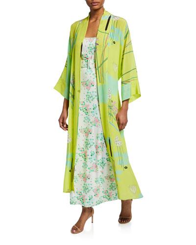 Floral Print Silk Crepe de Chine Robe  Yellow