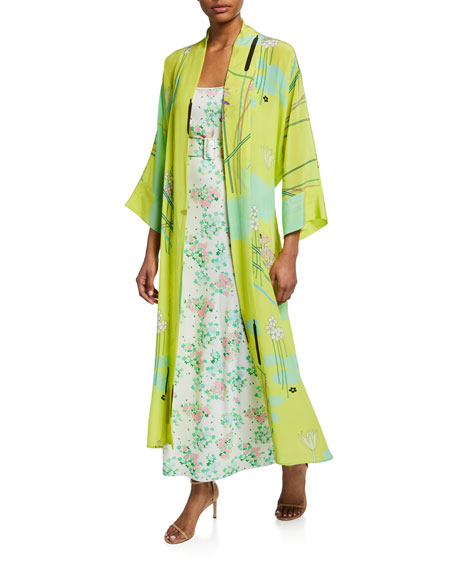 Floral Print Silk Crepe de Chine Robe, Yellow