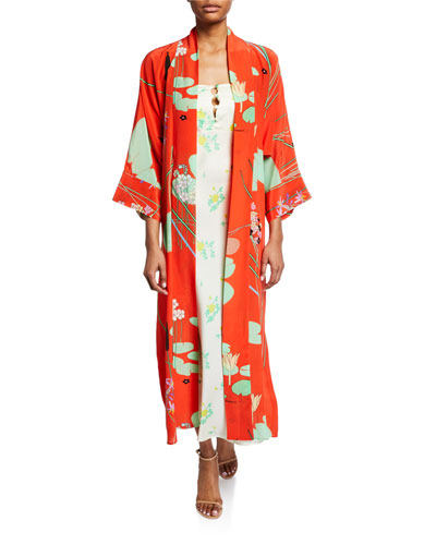 Floral Print Silk Crepe de Chine Robe  Red