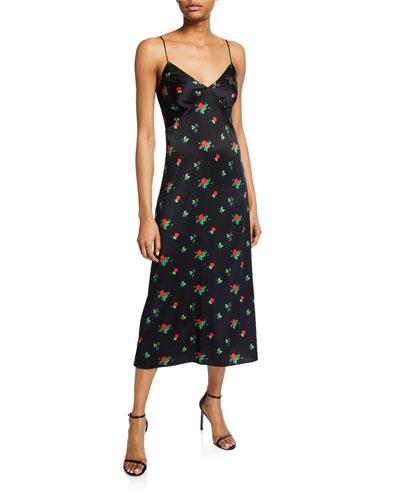 June Rose-Print Silk Slip Dress