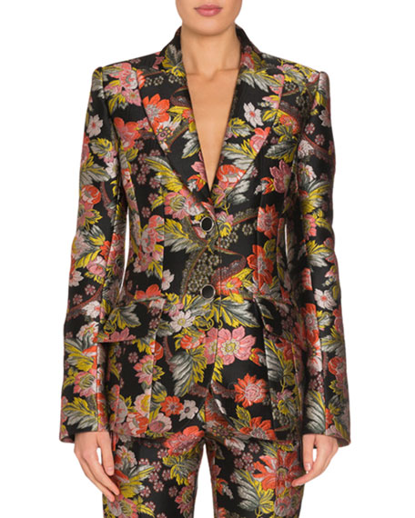 Floral Jacquard Fitted Jacket