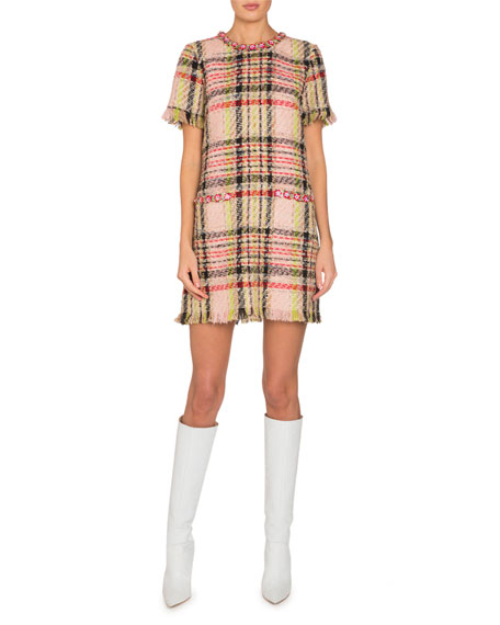 Floral-Embroidered Short-Sleeve Checkered Tweed Dress