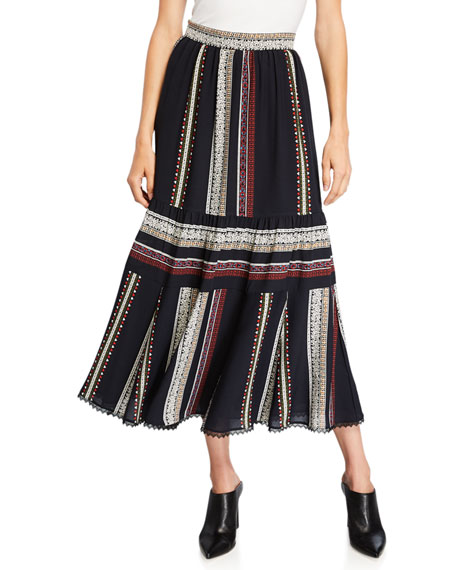 Geometric-Striped Smocked Midi Skirt