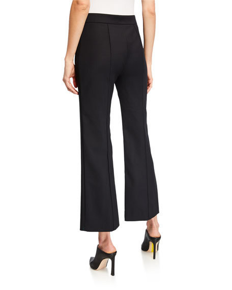 Cropped Pintucked Flare-Leg Trousers