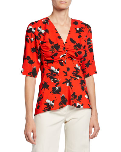 Floral-Print Ruched Jersey 1/2-Sleeve Blouse