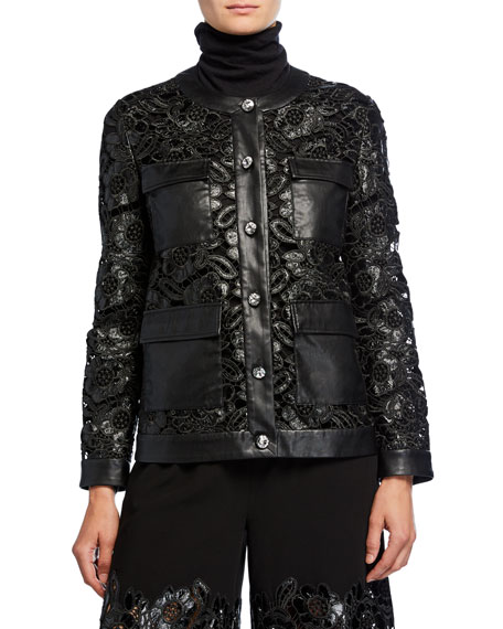 Leather Lace Button-Front Jacket