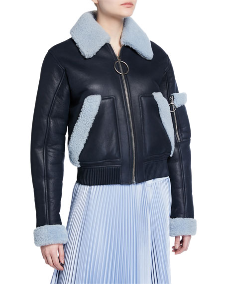 Shearling Trim Leather Bomber Jacket