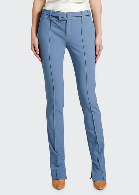 Straight-Leg Pleated Pants