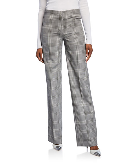 Image 1 of 1: Plaid Straight-Leg Trousers