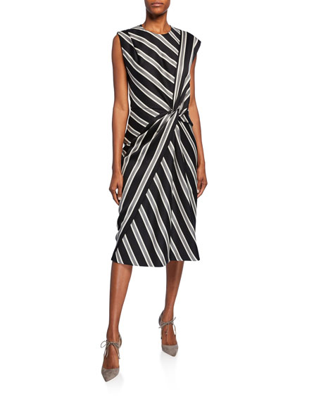 Image 1 of 1: Striped Ruched Boat-Neck Dress