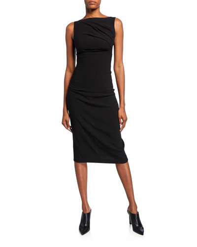 Ruched Crepe Boat-Neck Midi Dress